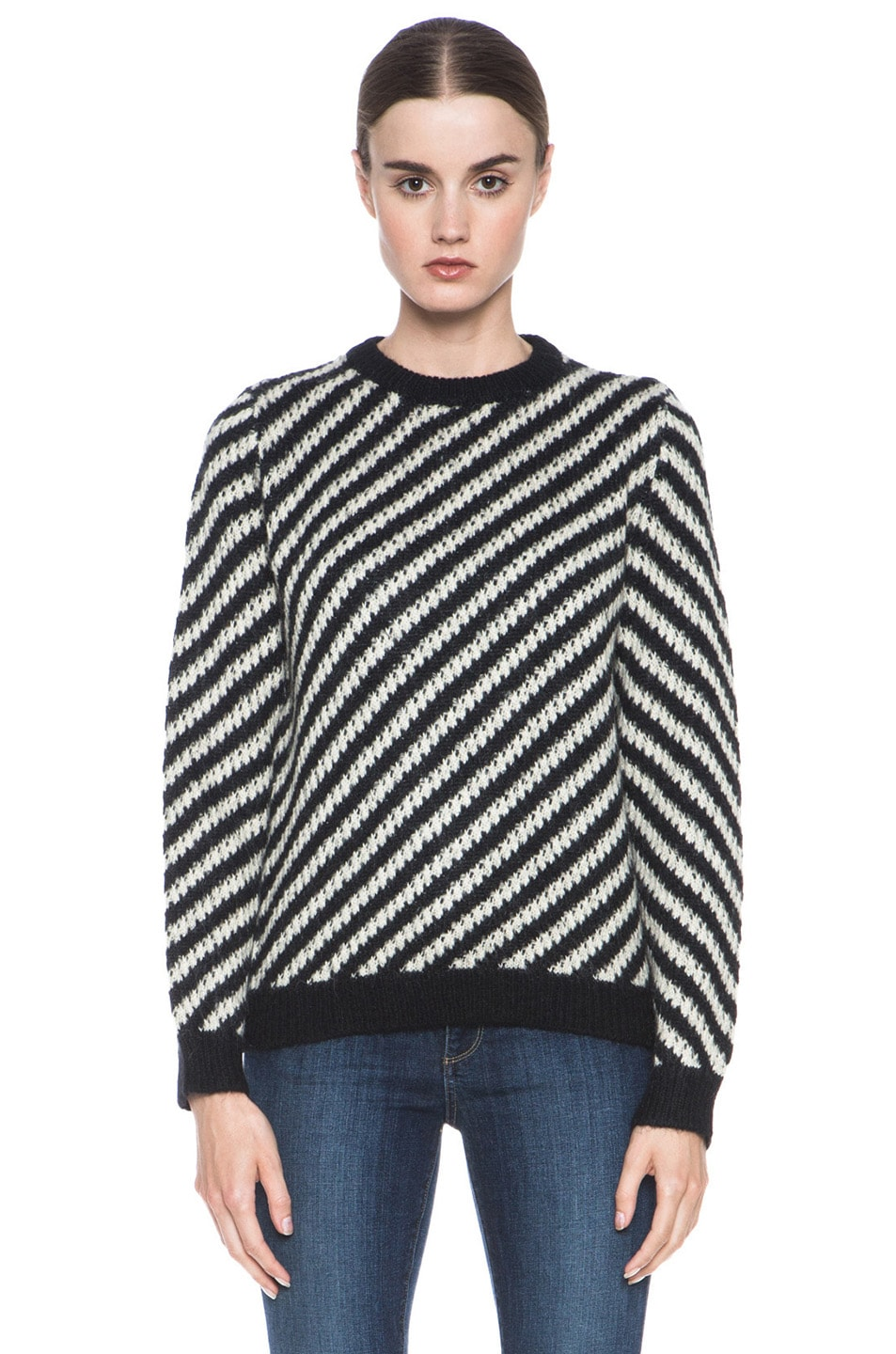 Image 1 of A.P.C. Jenny Pullover and White Stripe in Black
