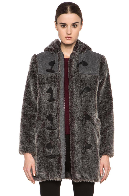 Image 1 of A.P.C. Faux Fur Duffel Coat in Grey