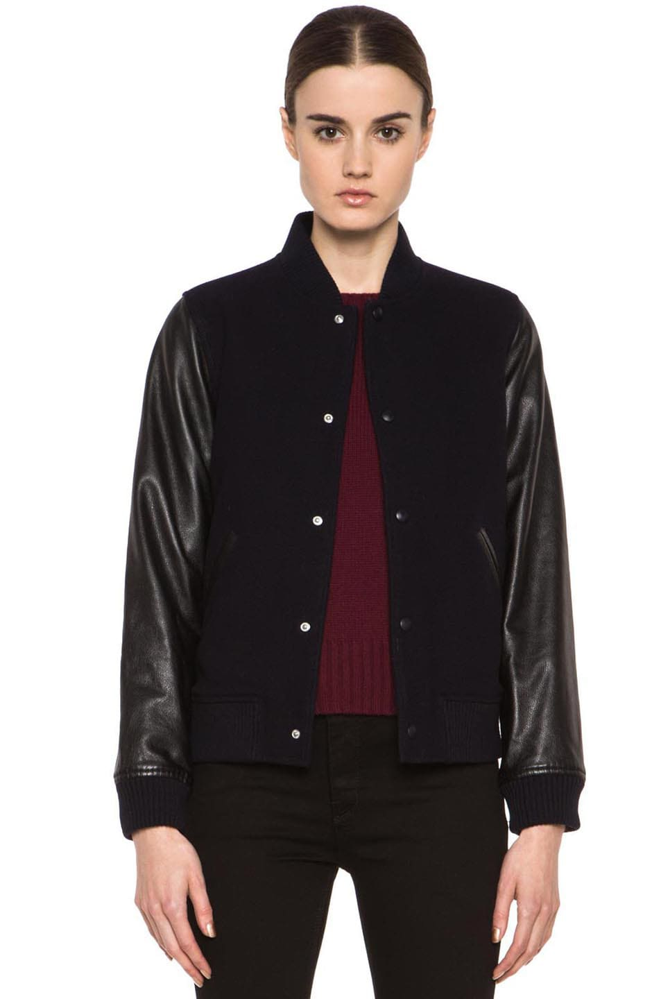 Image 1 of A.P.C. Teddy Rizzo Wool-Blend Leather Baseball Jacket in Dark Navy