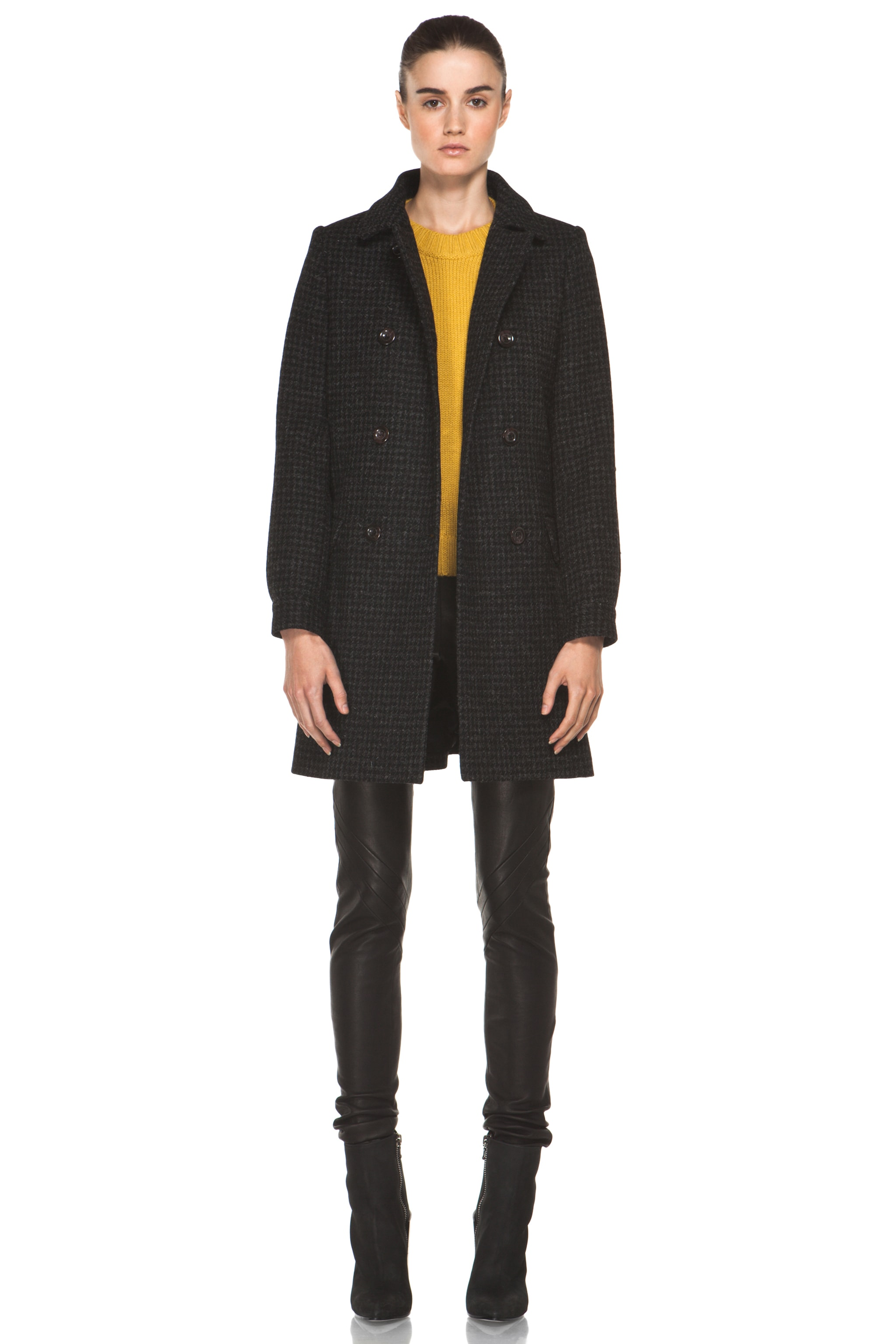 Image 1 of A.P.C. Piel de Coq Fondu Coat in Anthracite