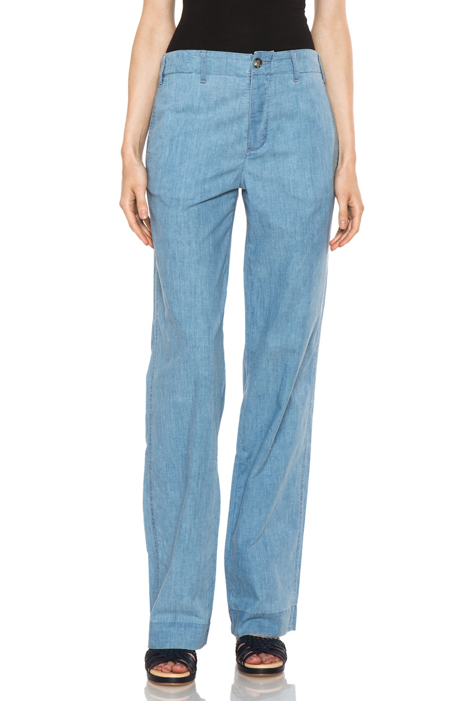 Image 1 of A.P.C. Chambray Chic Pant in Bleu