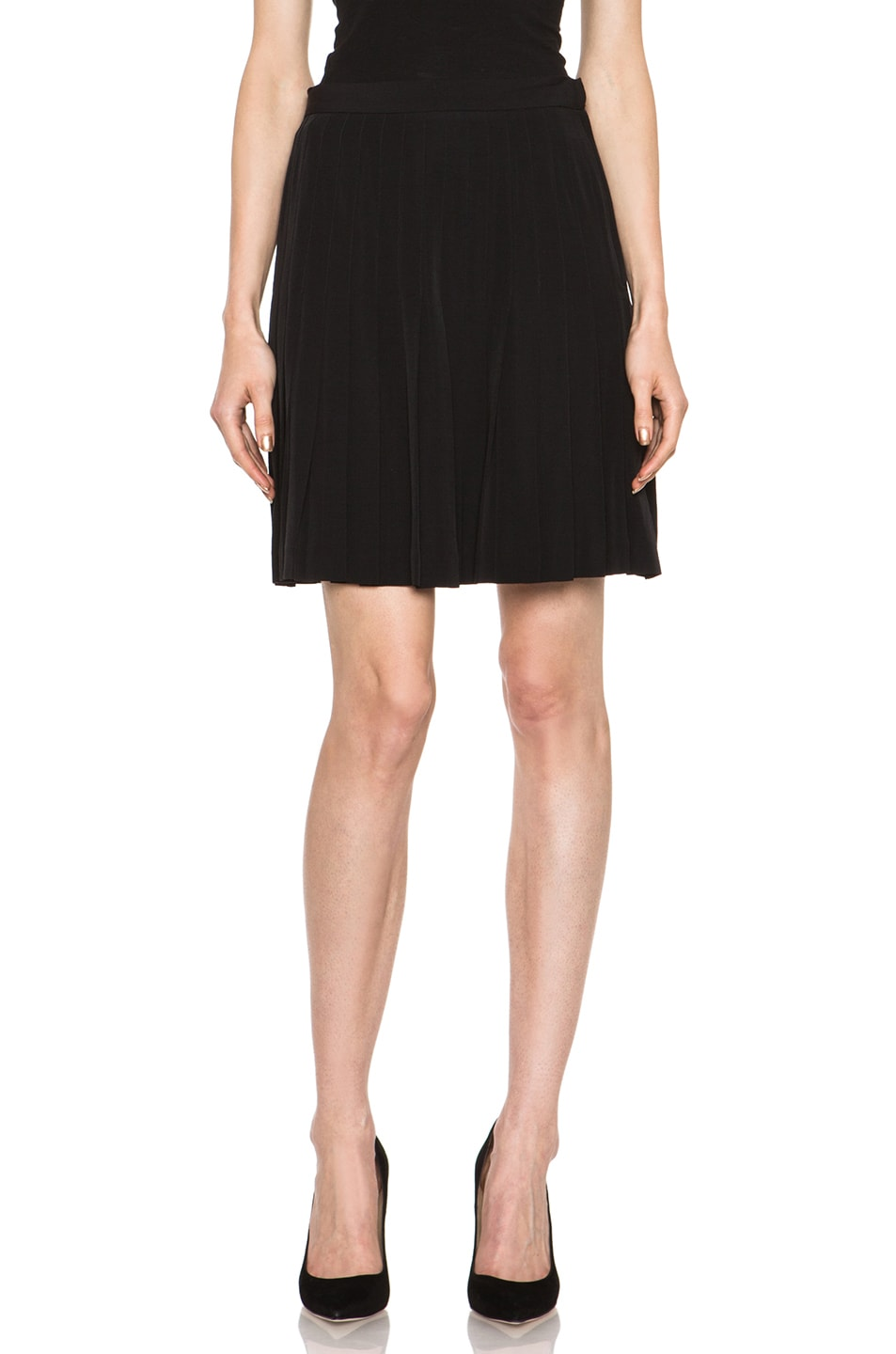 Image 1 of A.P.C. Viscose-Blend Pleated Skirt in Black