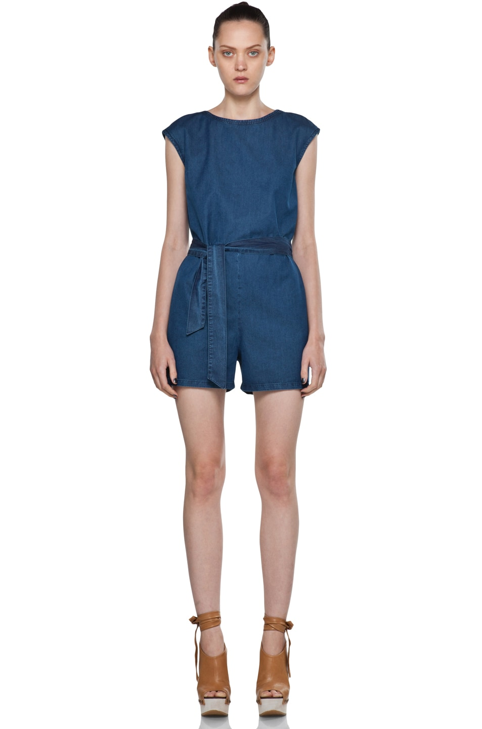 Image 1 of A.P.C. Denim Wash Cap Sleeve Romper in Bleu Acier