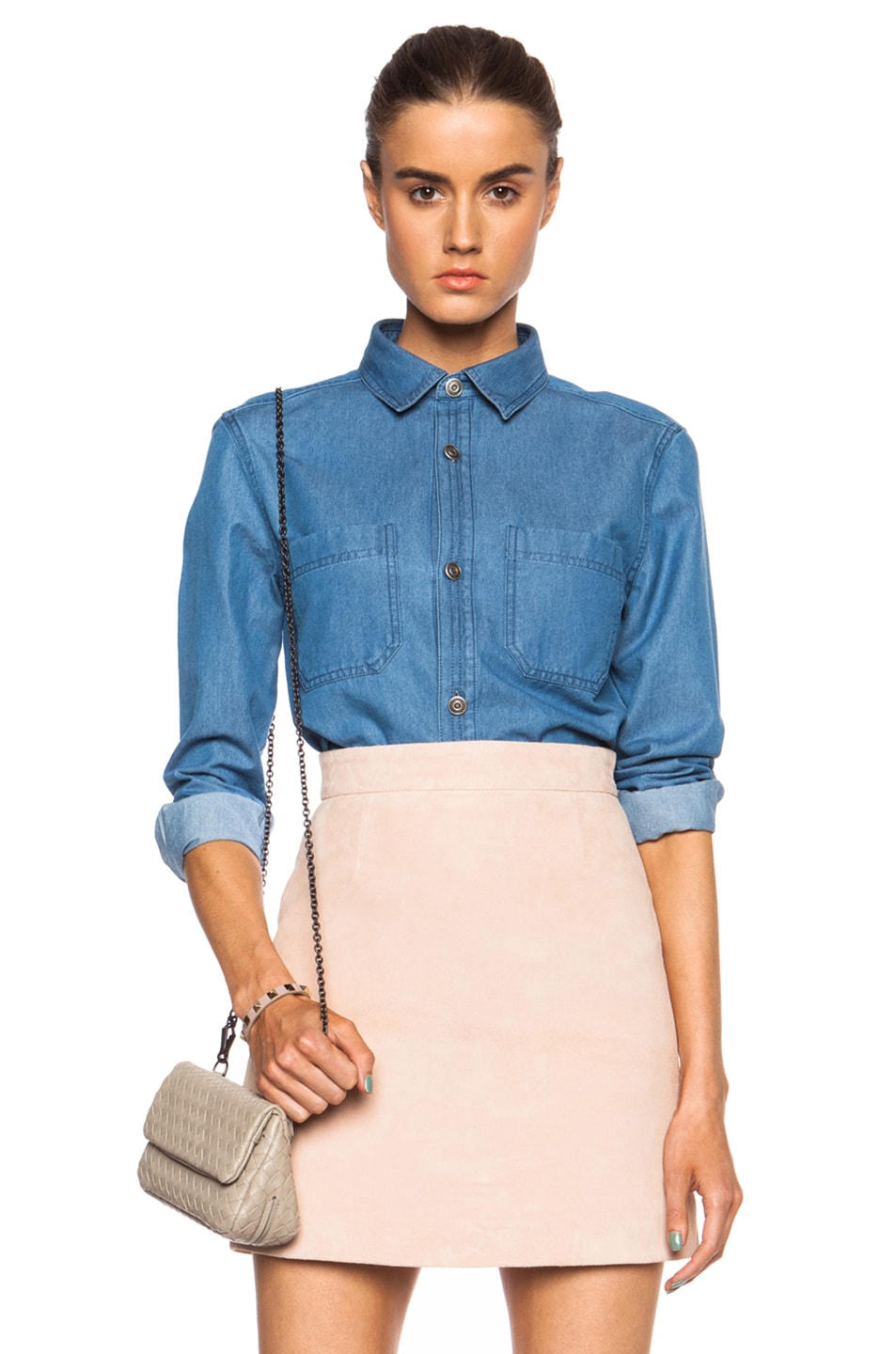 Image 1 of A.P.C. Nancy Denim Shirt in Light Blue
