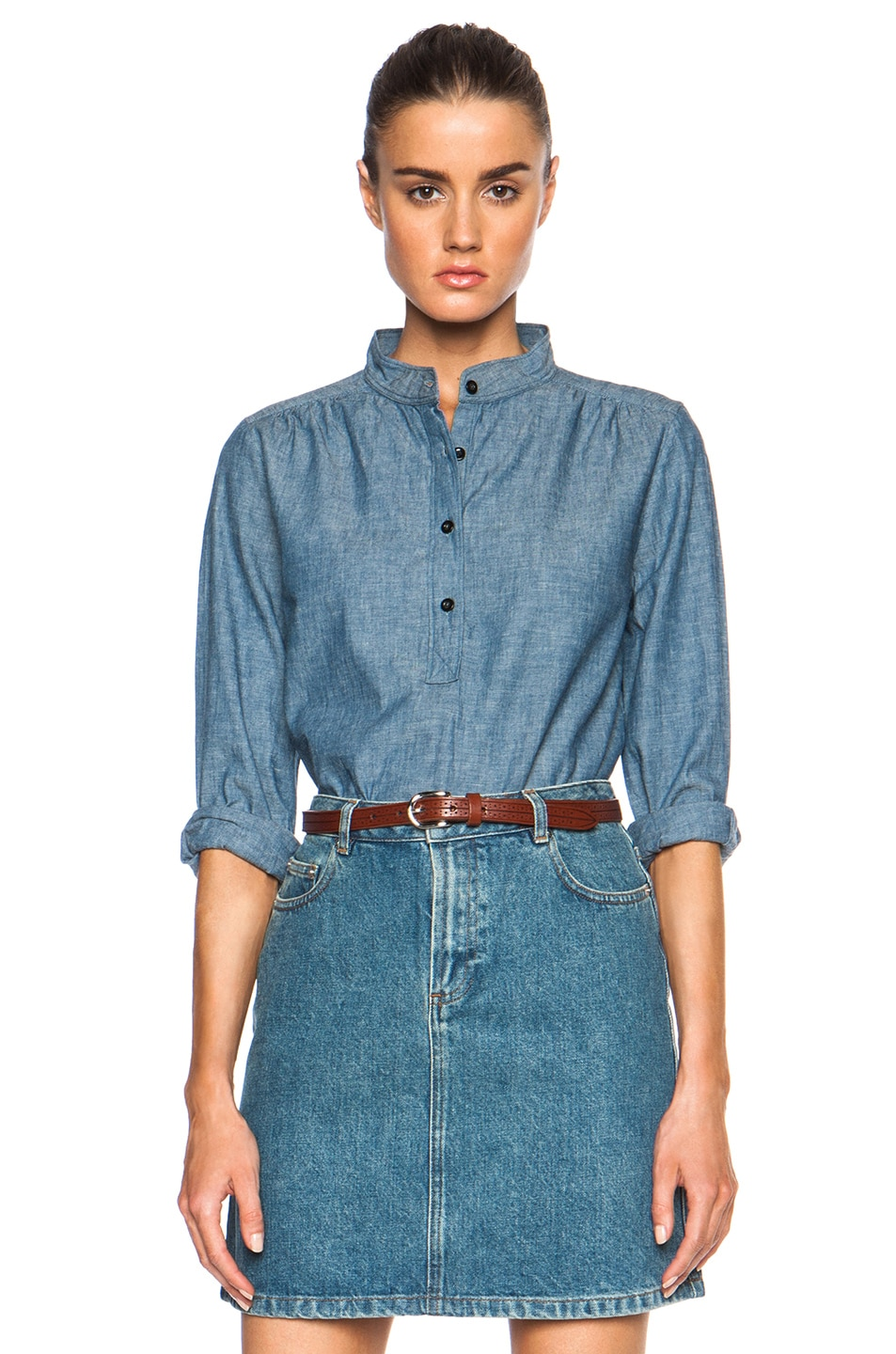 Image 1 of A.P.C. Sally Chambray Blouse in Indigo Delave