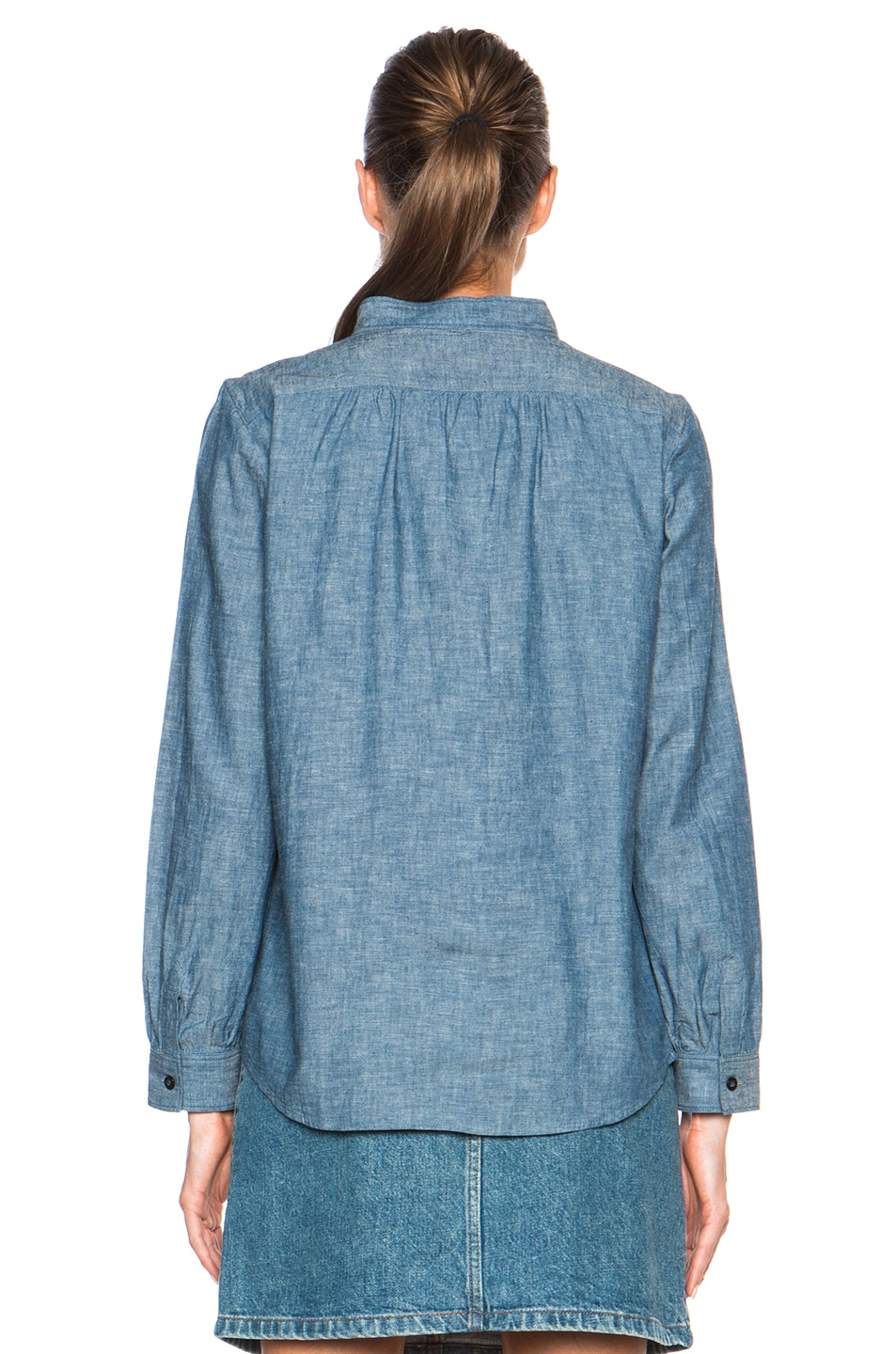Image 4 of A.P.C. Sally Chambray Blouse in Indigo Delave