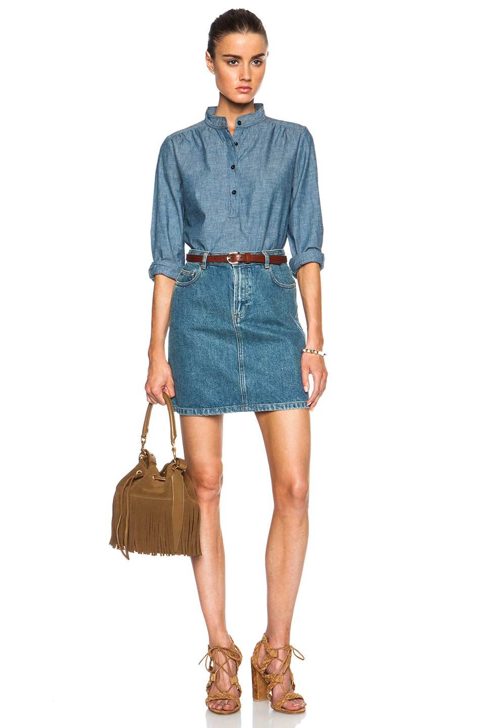 Image 5 of A.P.C. Sally Chambray Blouse in Indigo Delave