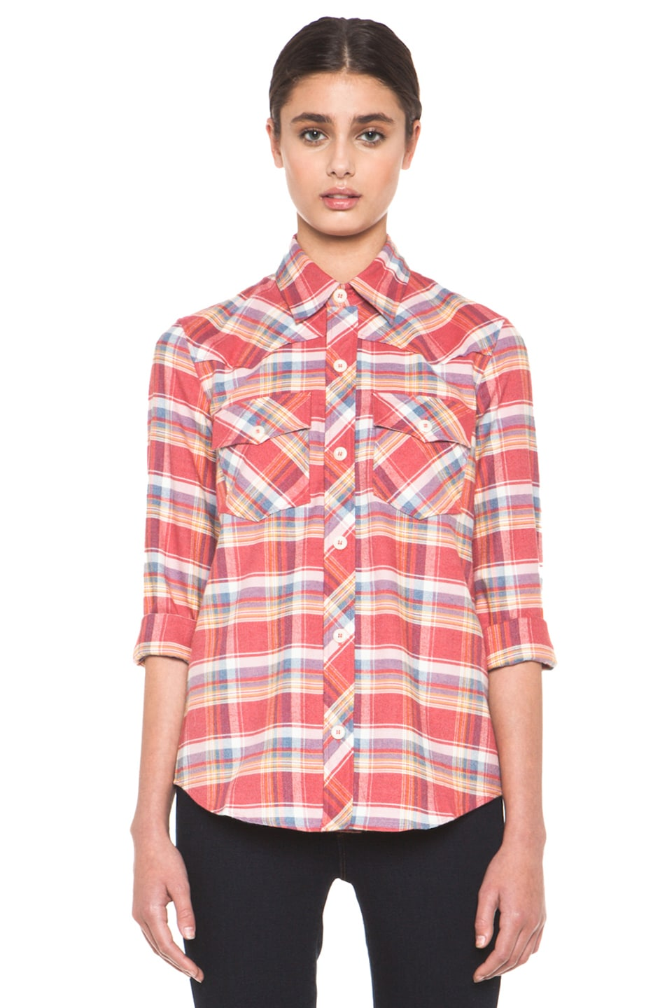 Image 1 of A.P.C. 70s Western Top in Red Orange