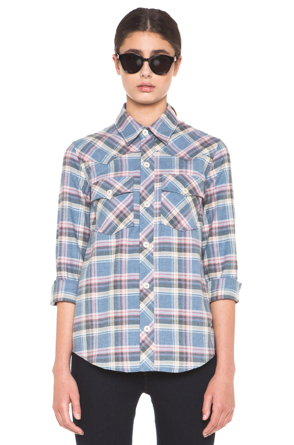 Image 1 of A.P.C. 70s Western Top in Blue Grey