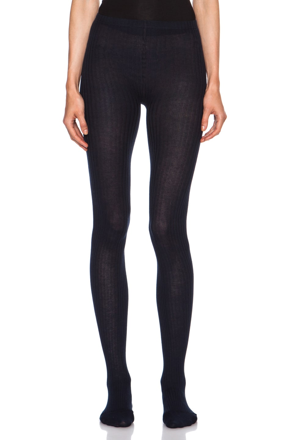 Image 1 of A.P.C. Island Cotton-Blend Tights in Dark Navy