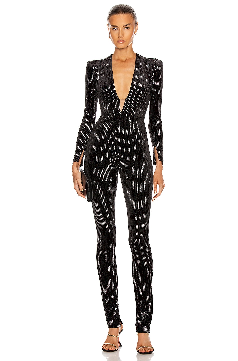 Image 1 of Alex Perry Halsey Catsuit in Black Glitter