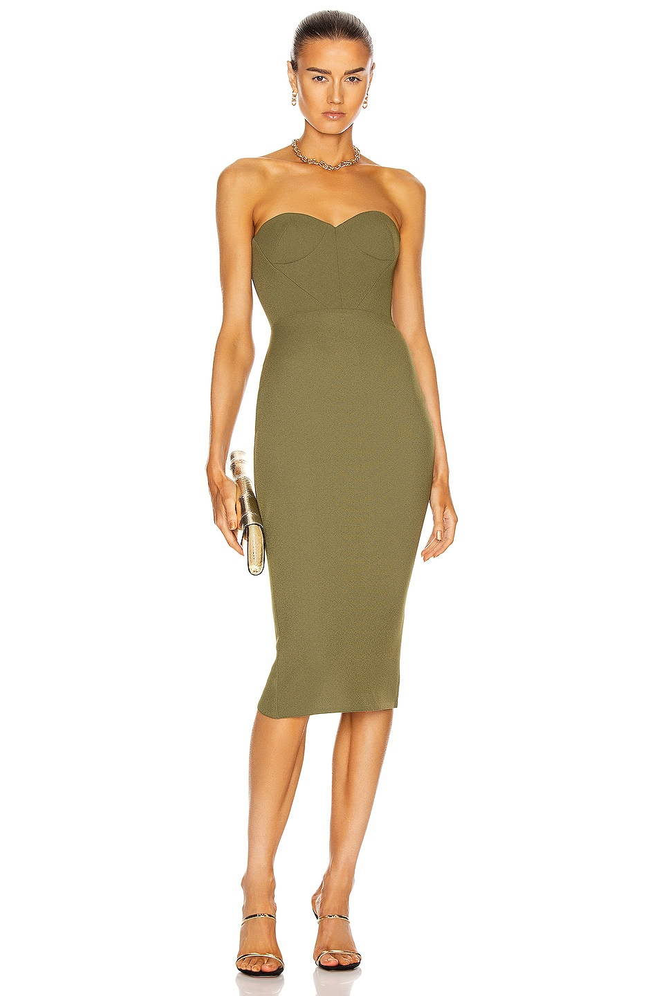 Image 1 of Alex Perry Kye Dress in Khaki