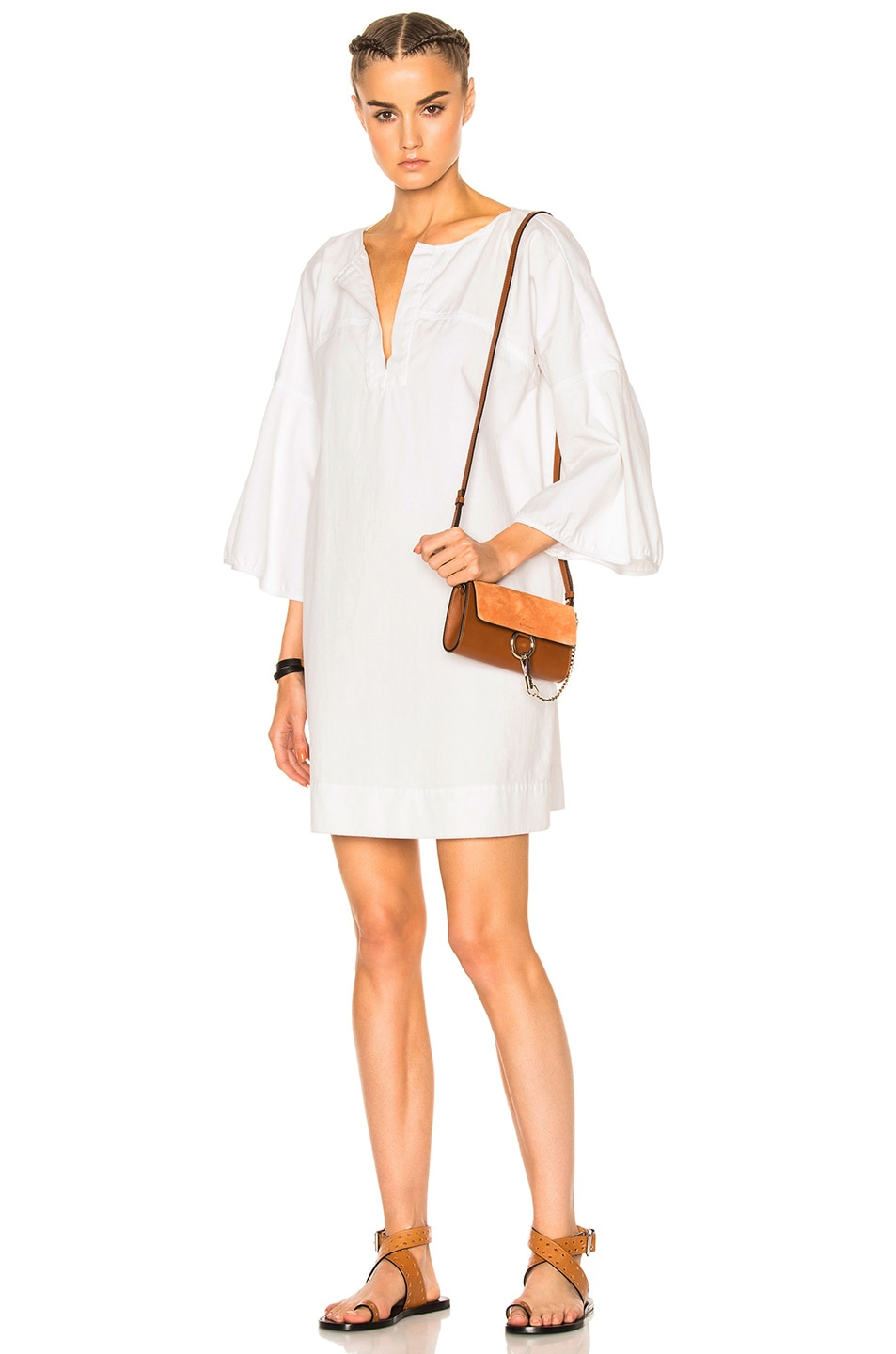 Image 1 of APIECE APART Becerra Flute Arm Dress in White Denim