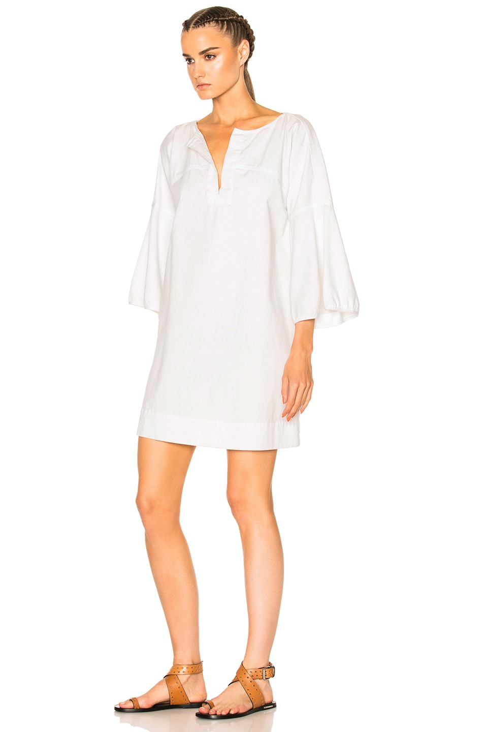 Image 2 of APIECE APART Becerra Flute Arm Dress in White Denim