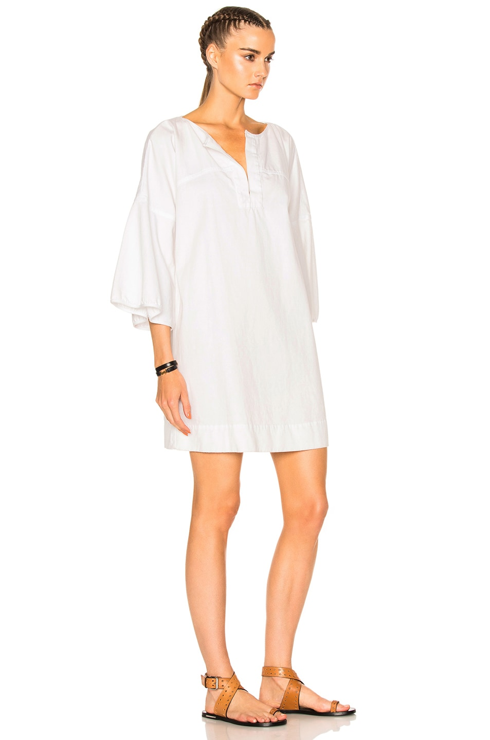 Image 3 of APIECE APART Becerra Flute Arm Dress in White Denim