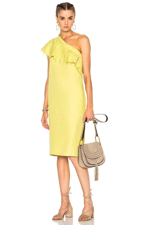 Image 1 of Apiece Apart Reina One Shoulder Ruffle Dress in Lemon