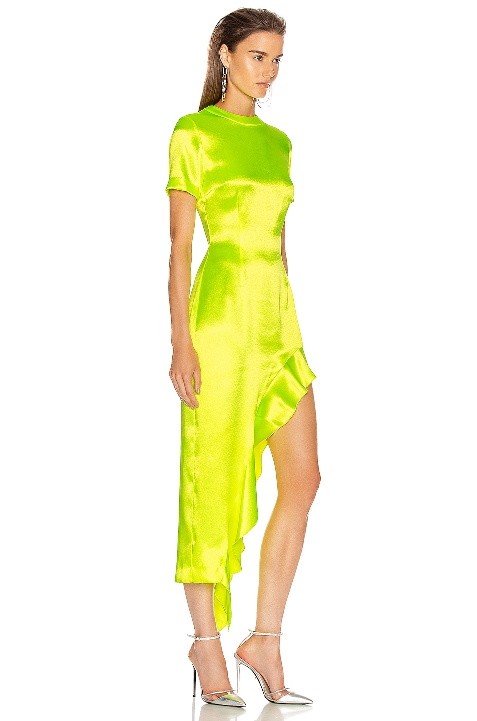 Image 2 of AREA Ruffle Hem Dress in Fluo