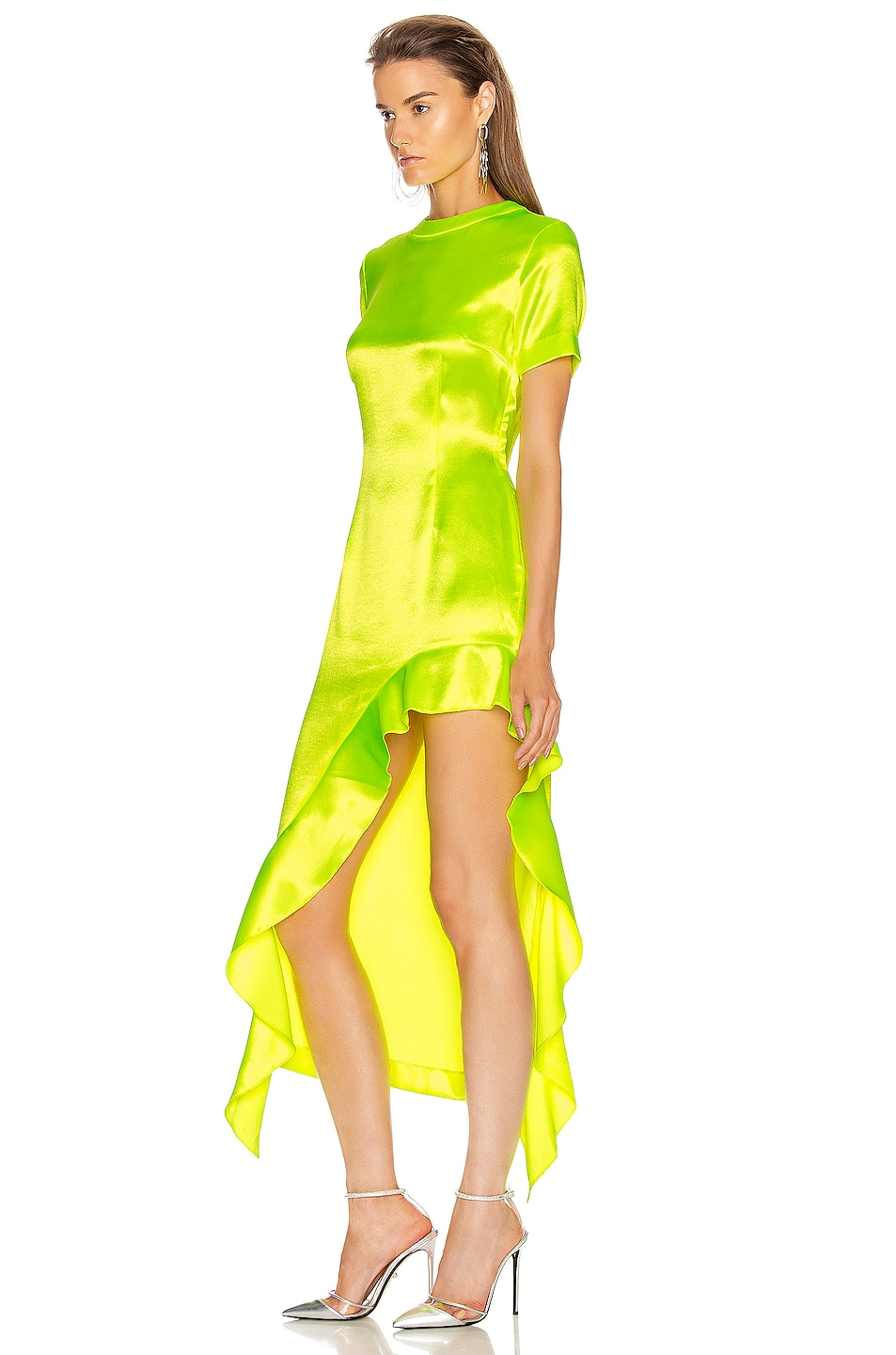 Image 3 of AREA Ruffle Hem Dress in Fluo