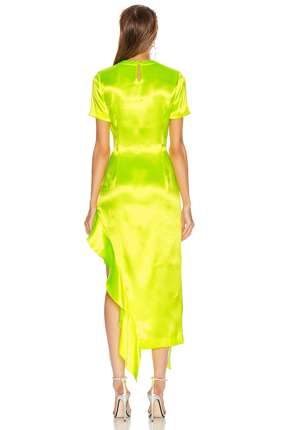 Image 4 of AREA Ruffle Hem Dress in Fluo