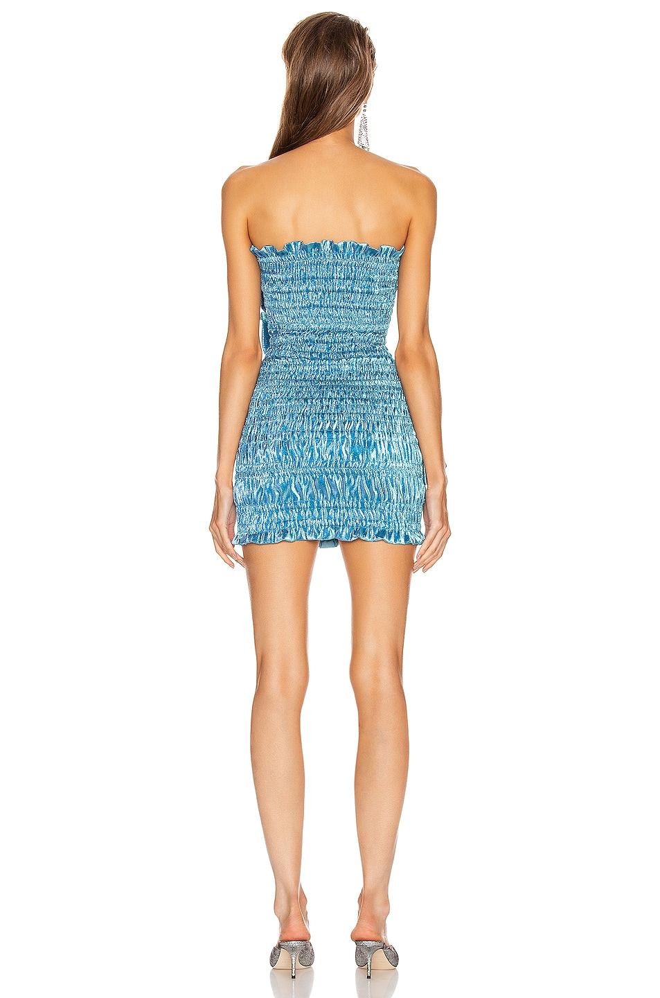 Image 3 of AREA Ruched Ruffle Dress in Cerulean