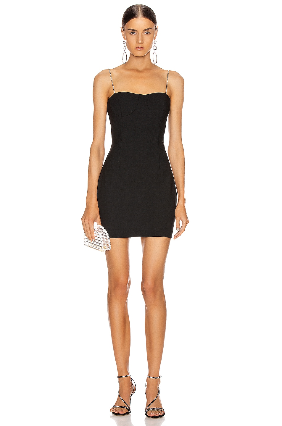 Image 1 of AREA Tailored Crystal Strap Slip Dress in Black
