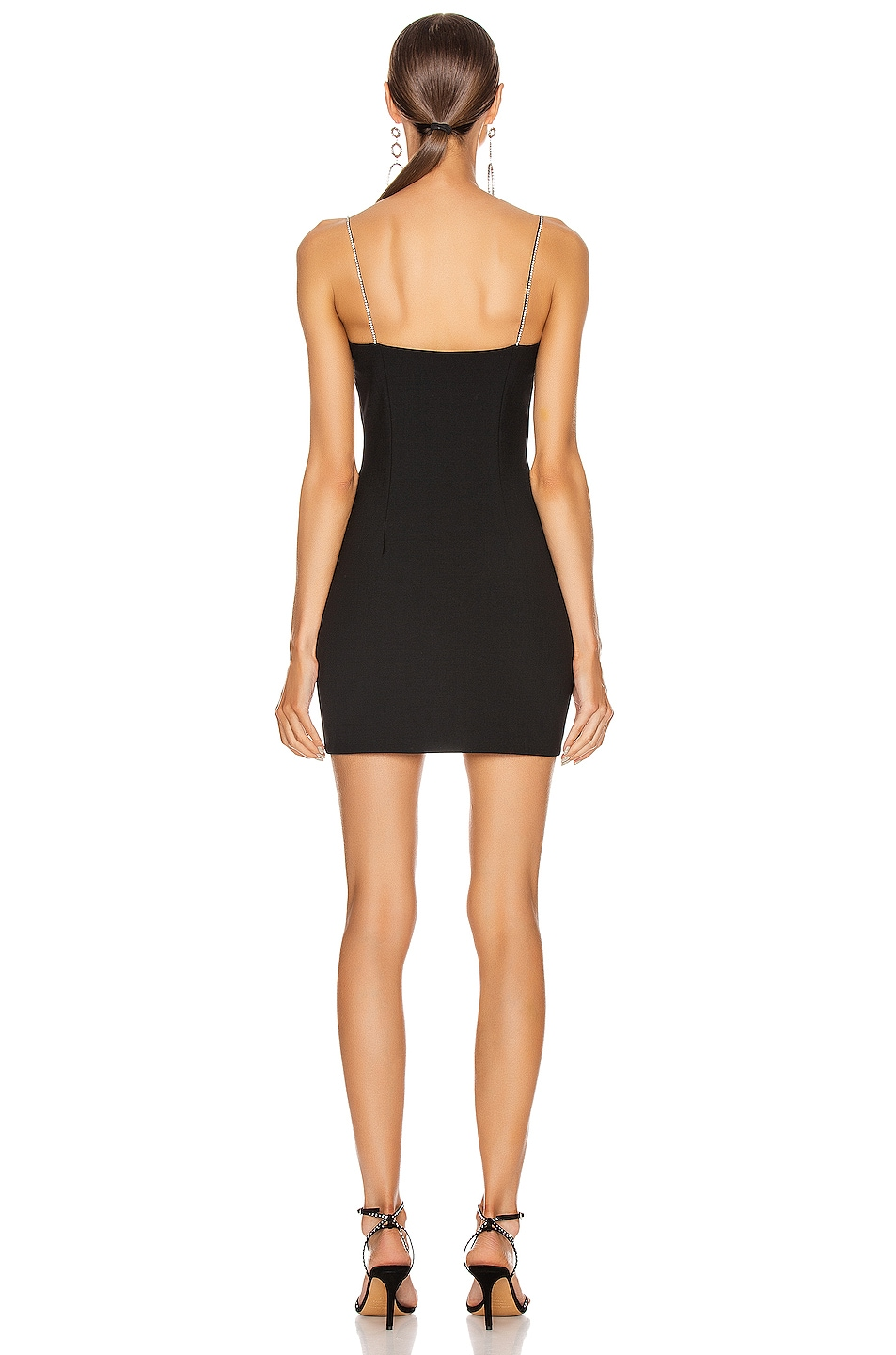 Image 3 of AREA Tailored Crystal Strap Slip Dress in Black