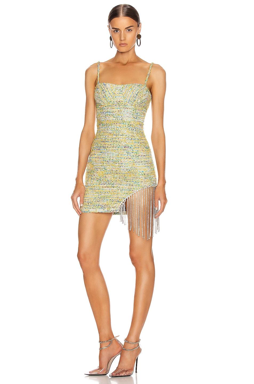 Image 1 of AREA Crystal Fringe Tweed Mini Dress in Multi