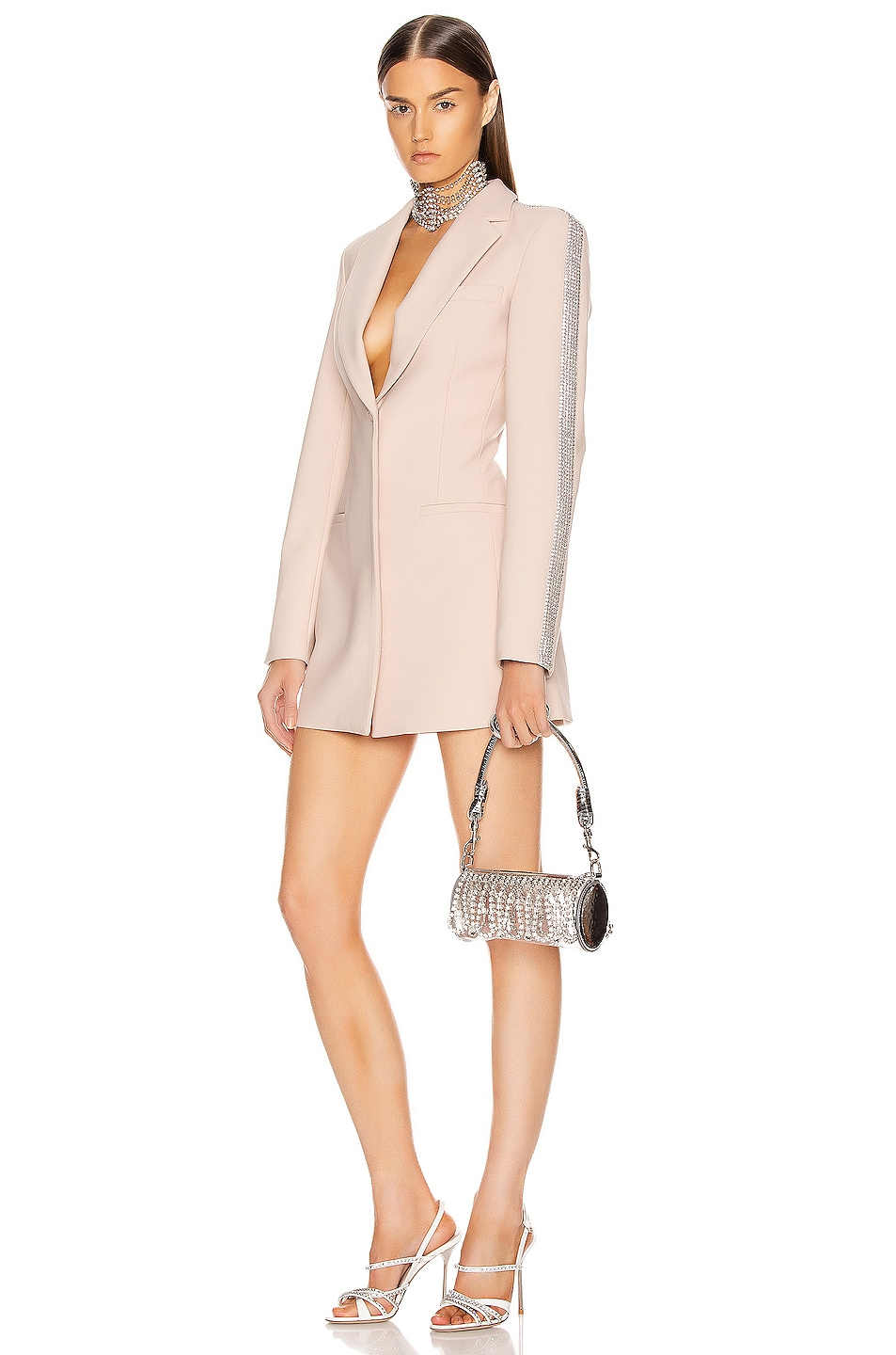 Image 1 of AREA Crystal Stripe Blazer Dress in Nude