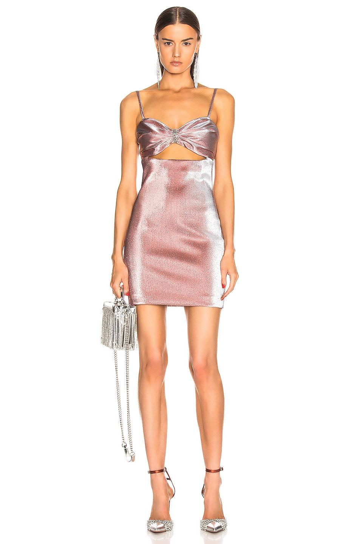 Image 1 of AREA Bra Lame Dress in Rose
