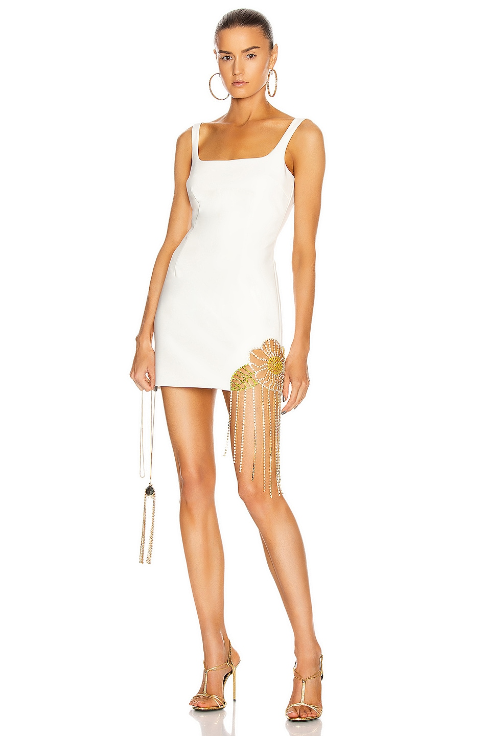 Image 1 of AREA Crystal Flower Cutout Dress in Ivory
