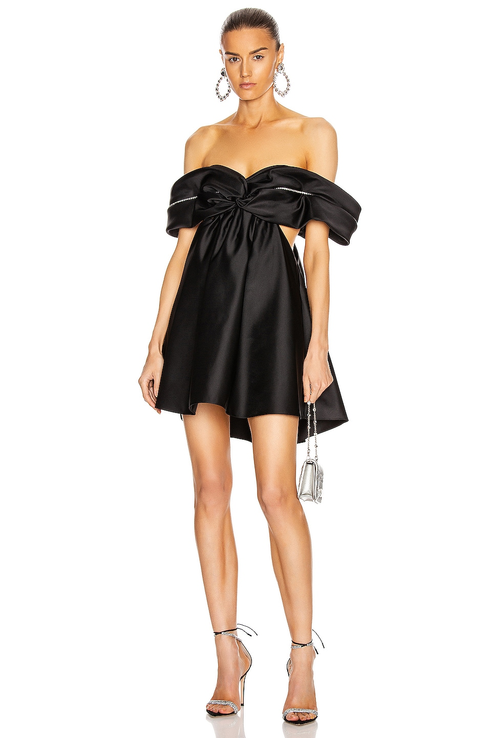 Image 1 of AREA Crystal Cutout Draped Dress in Black