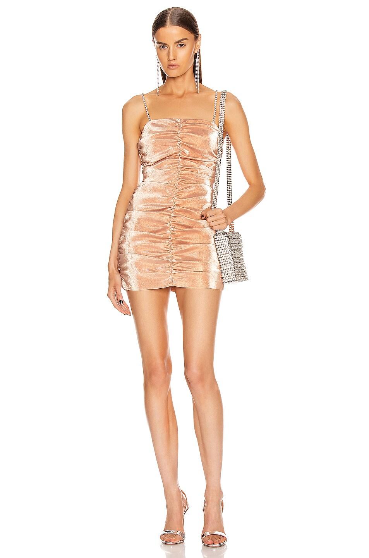 Image 1 of AREA Shirred Mini Dress in Nude
