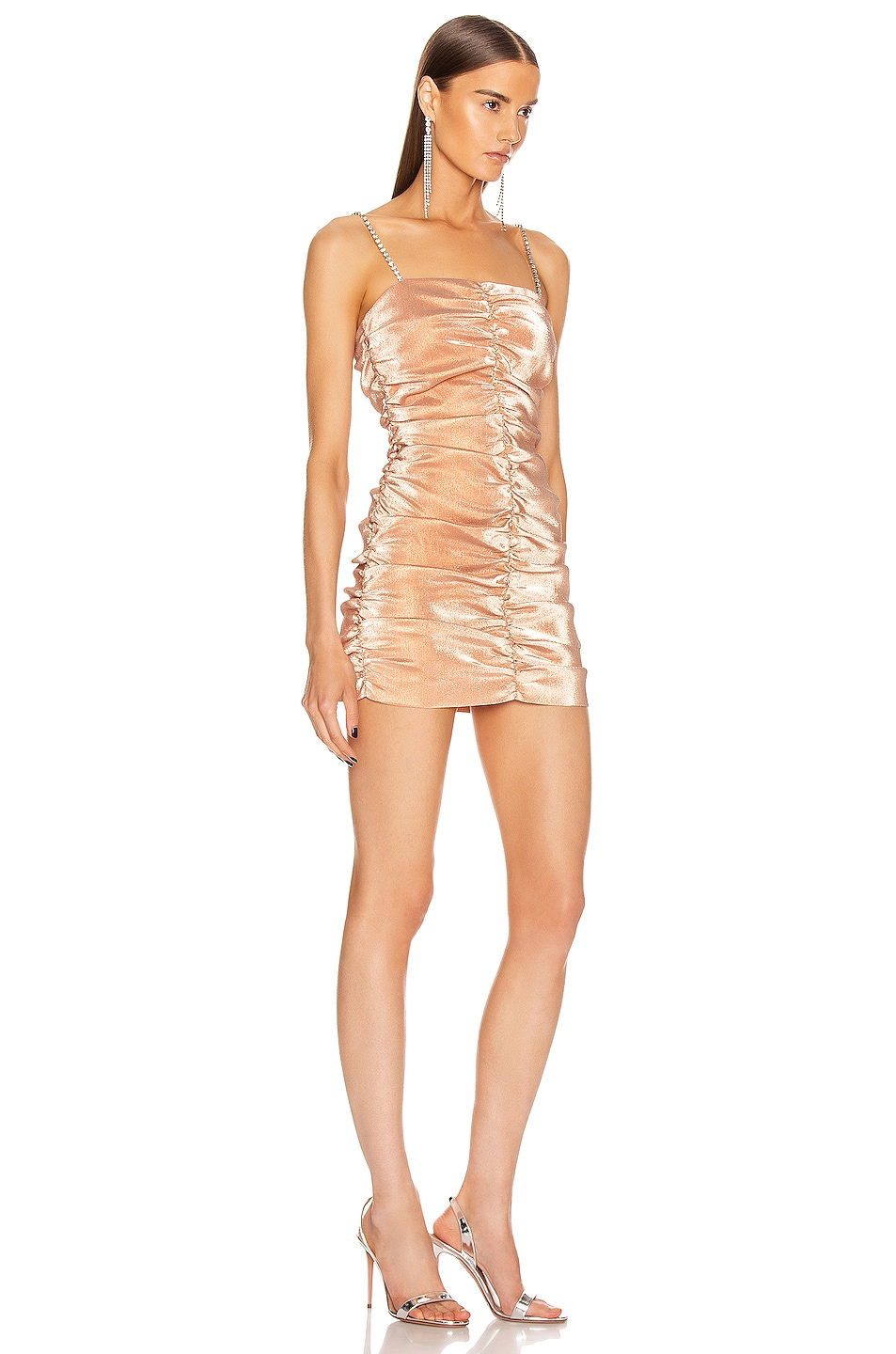 Image 2 of AREA Shirred Mini Dress in Nude