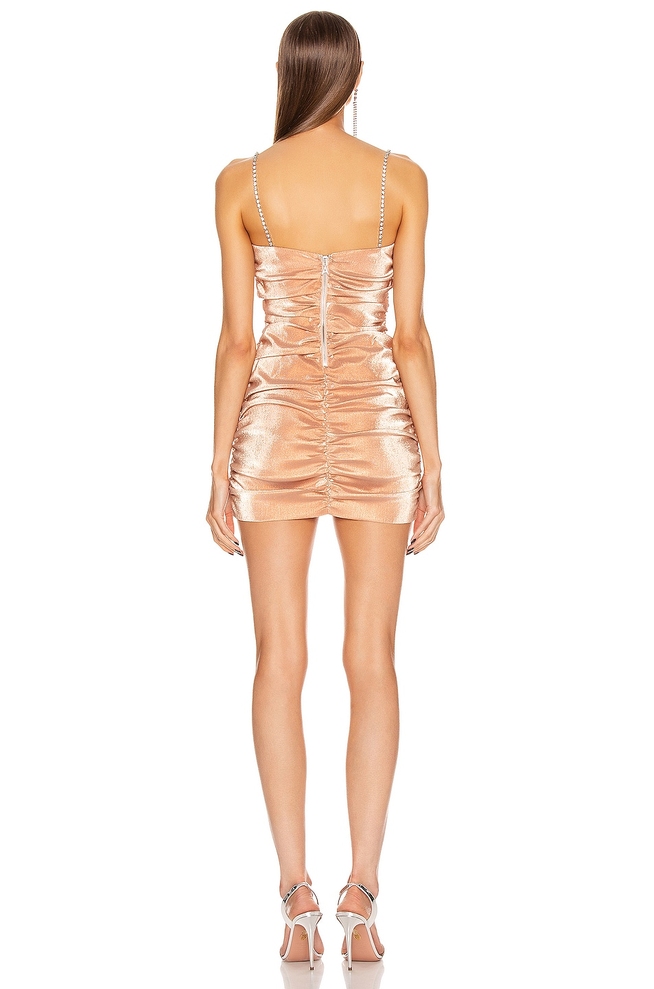 Image 3 of AREA Shirred Mini Dress in Nude