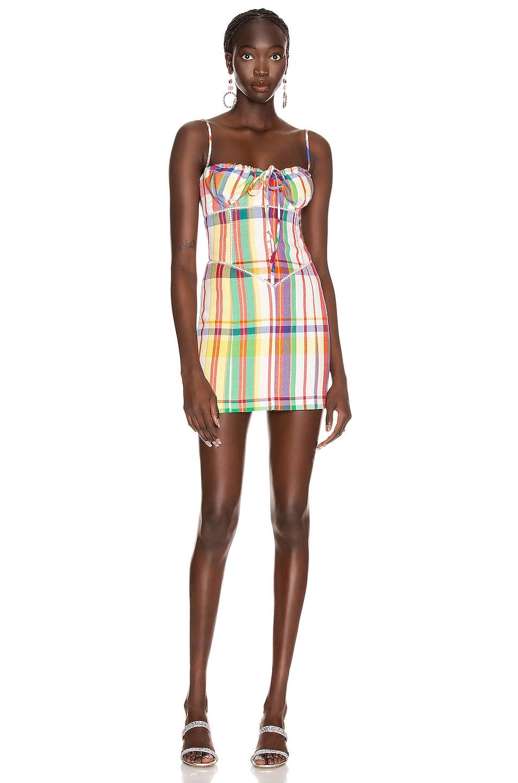 Image 1 of AREA Crystal Sweetheart Mini Dress in Rainbow