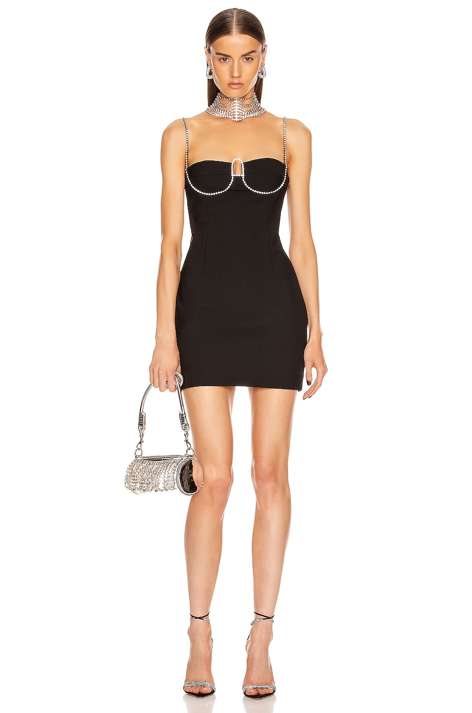 """Image 1 of AREA Crystal """"A"""" Mini Dress in Black"""