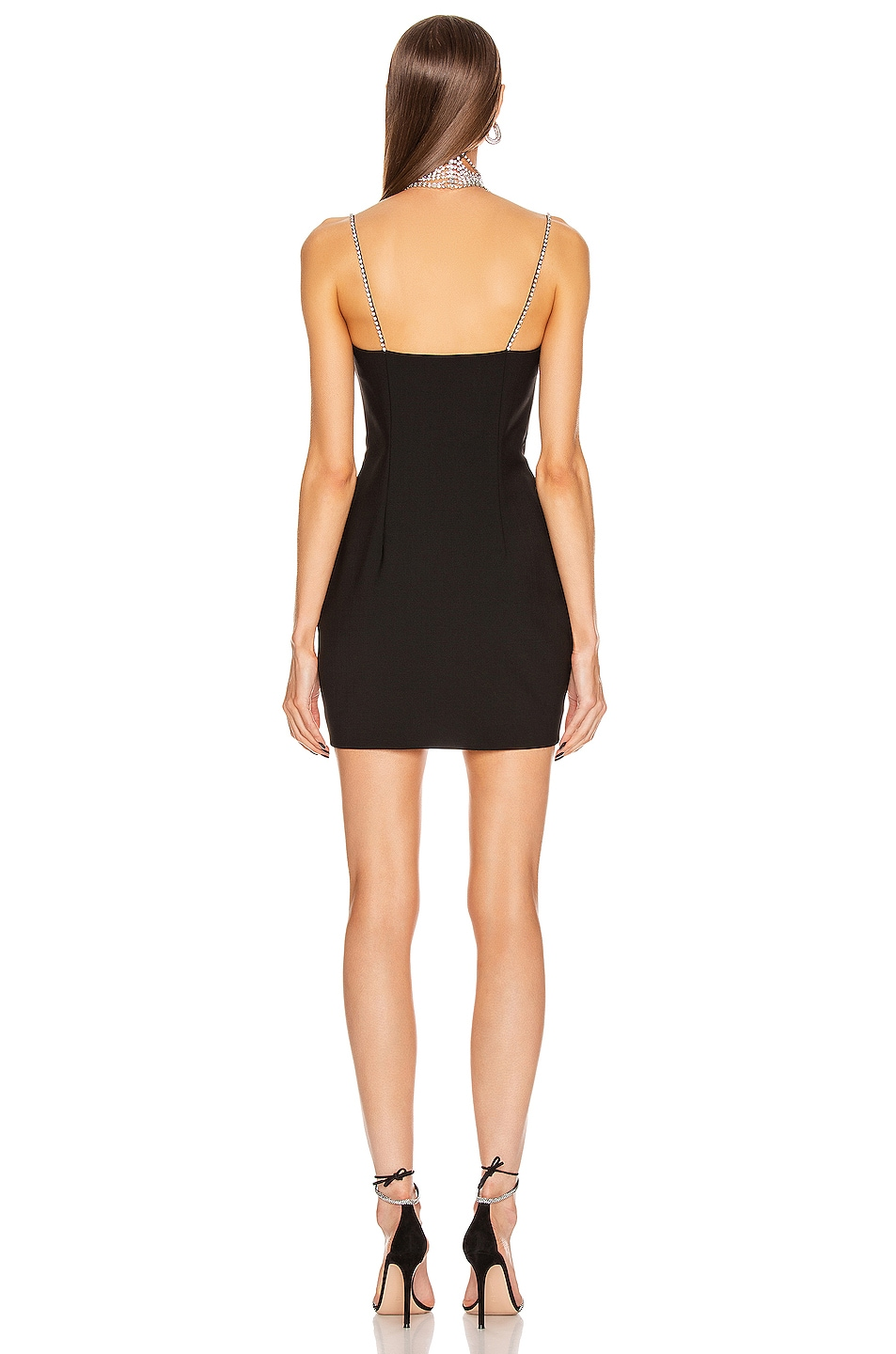 """Image 3 of AREA Crystal """"A"""" Mini Dress in Black"""