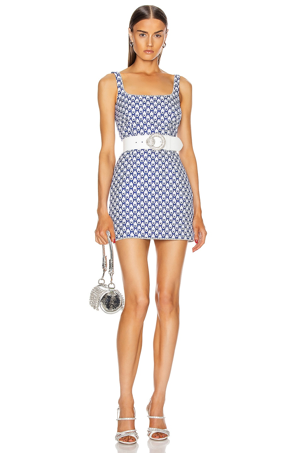 Image 1 of AREA Crystal Trim Tank Dress in Royal & Blue