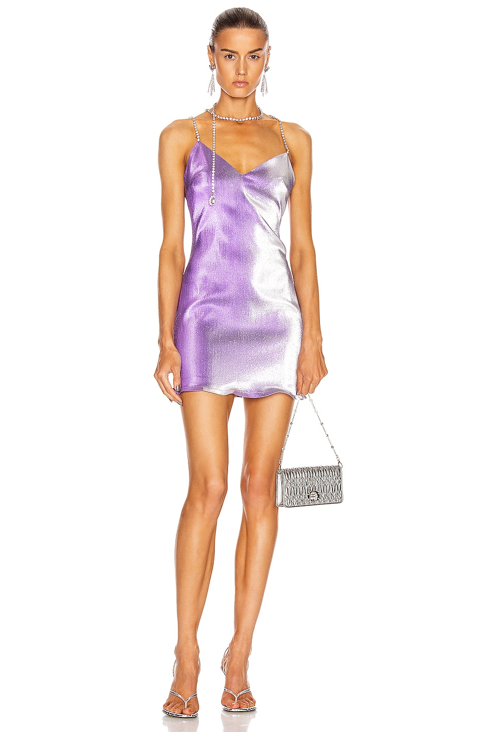 Image 1 of AREA Crystal Choker Mini Dress in Silver Violet