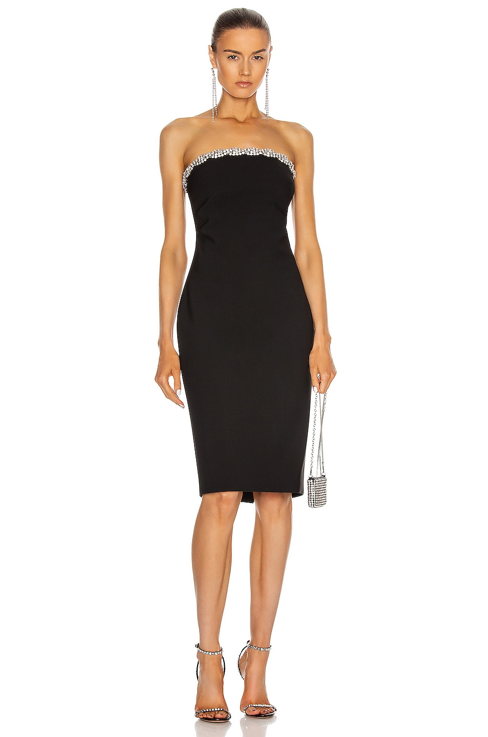 Image 1 of AREA Braided Crystal Trim Fitted Tube Dress in Black