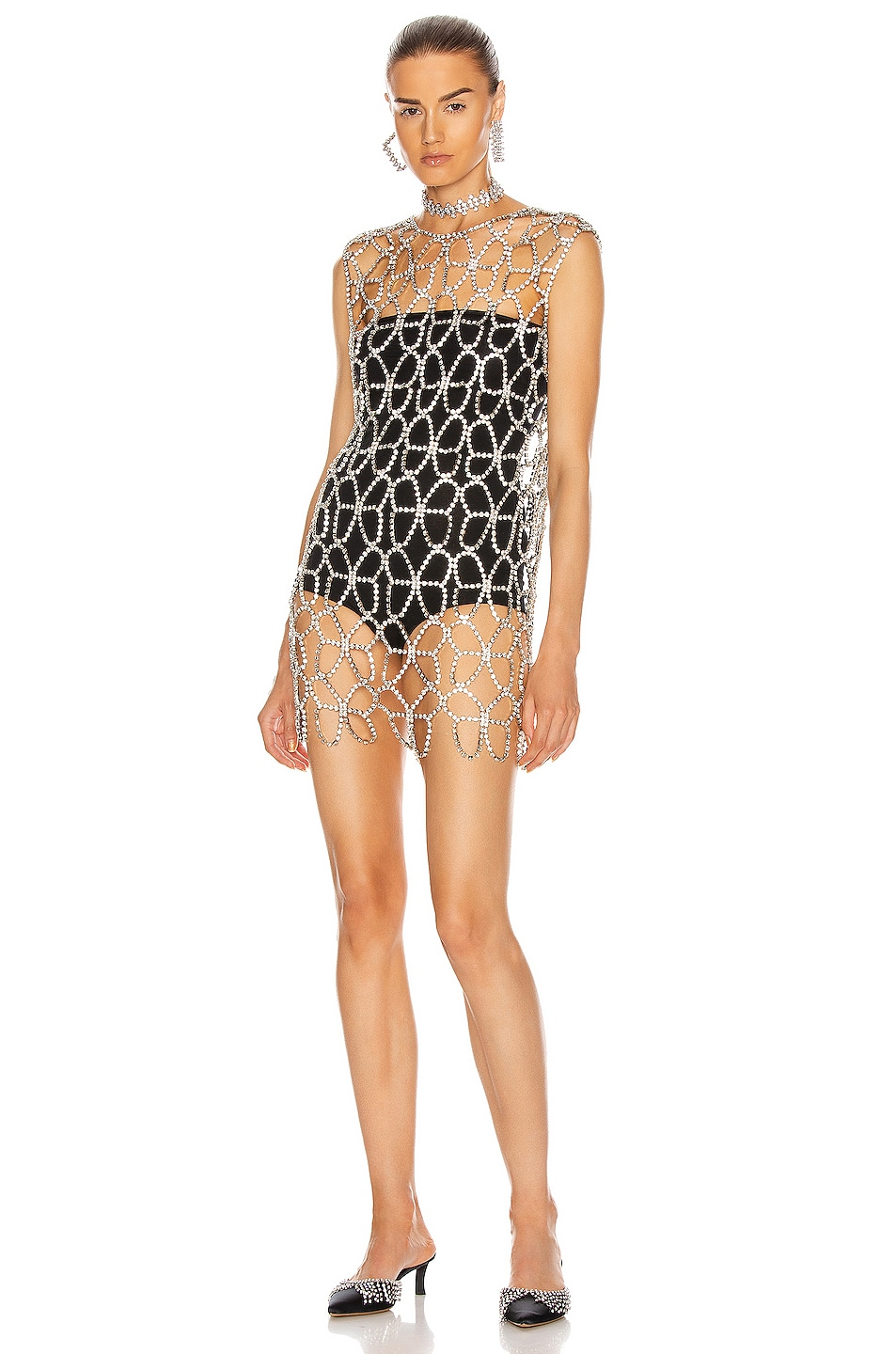 Image 1 of AREA Crystal Butterfly Net Dress in Clear & Silver