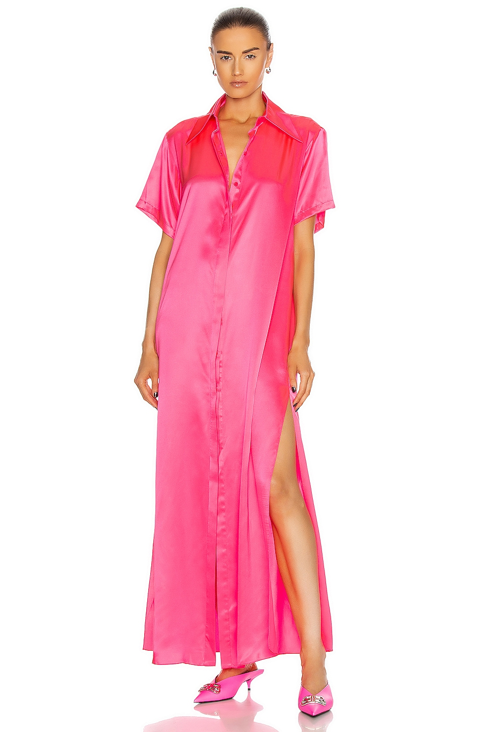 Image 1 of AREA Silk Maxi Tunic Gown in Fluo Pink