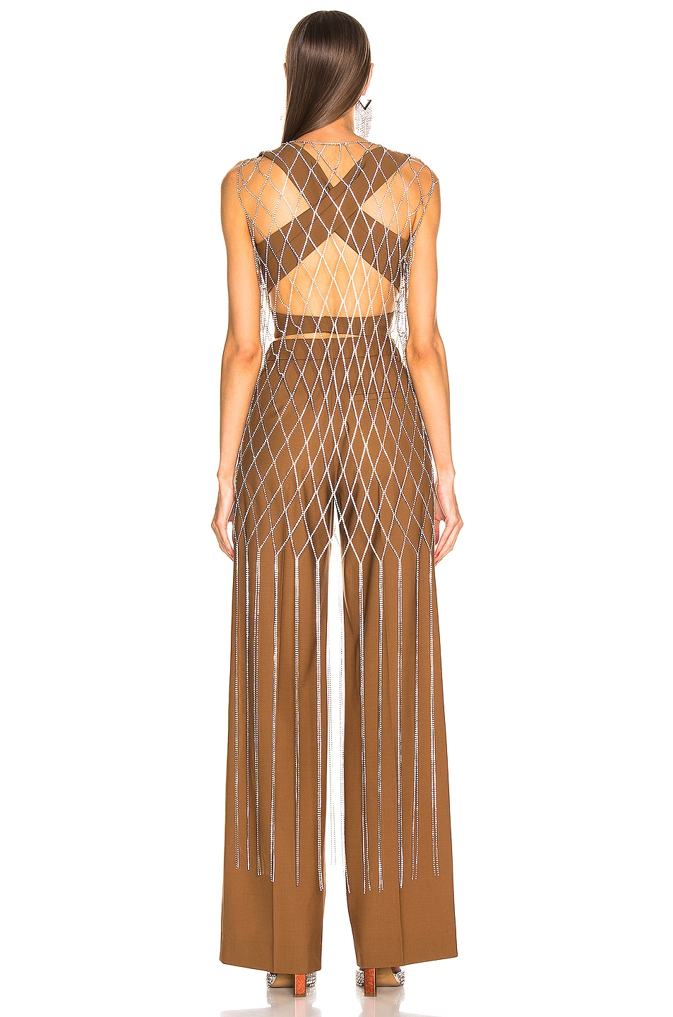 Image 3 of AREA Crystal Fishnet Dress in Diamond