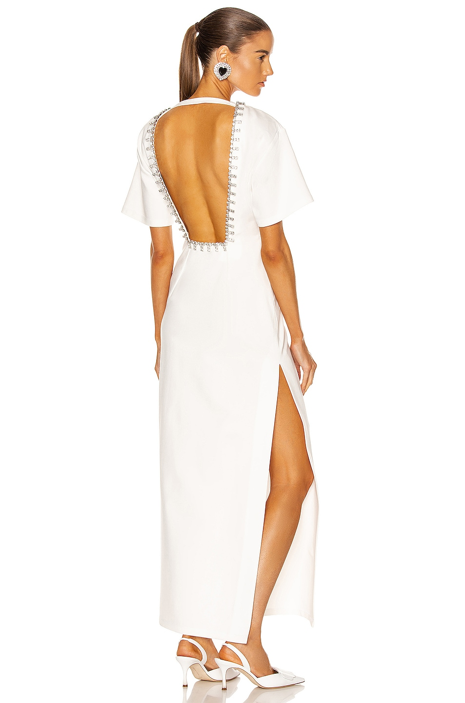 Image 1 of AREA Crystal T-Shirt Gown in White