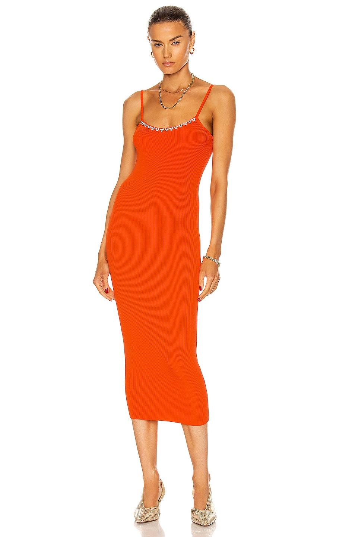 Image 1 of AREA Rib Knit Midi Dress in Orange