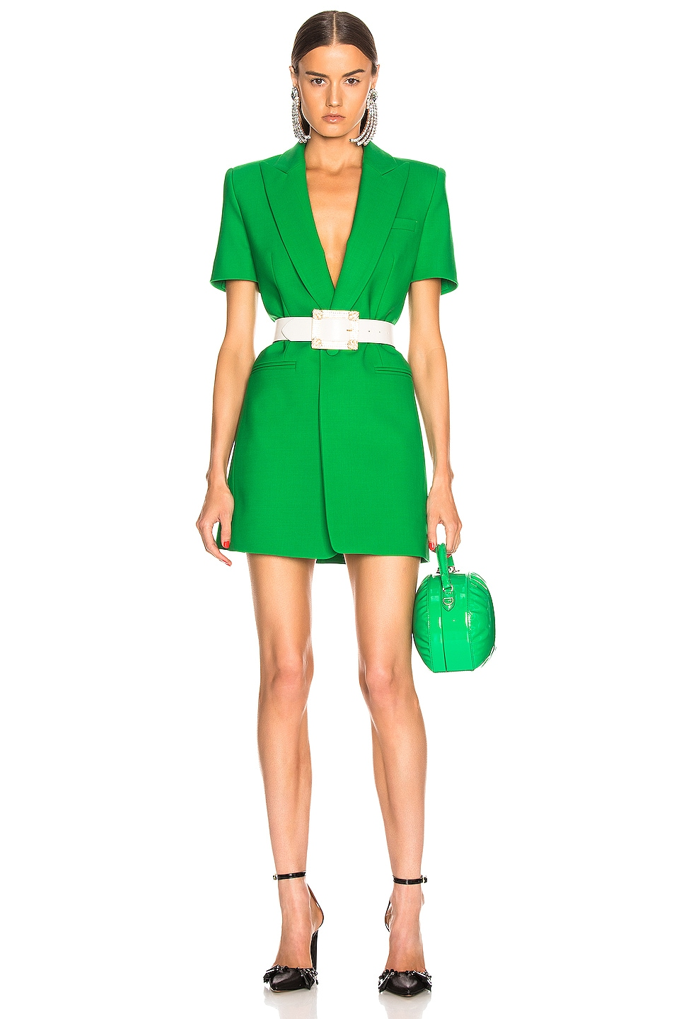 Image 1 of AREA Bonded Short Sleeve Blazer Dress in Kelly Green