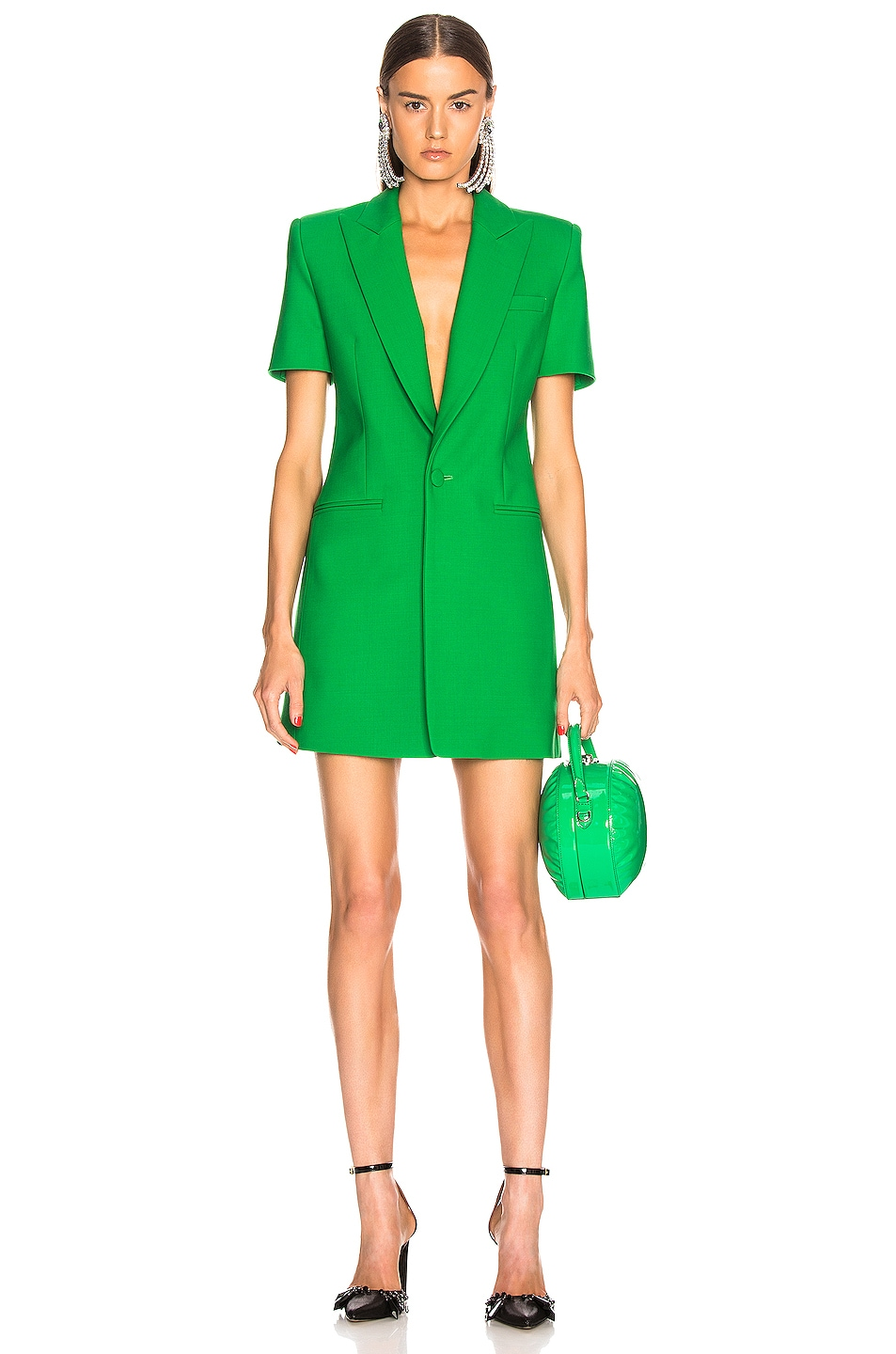 Image 2 of AREA Bonded Short Sleeve Blazer Dress in Kelly Green