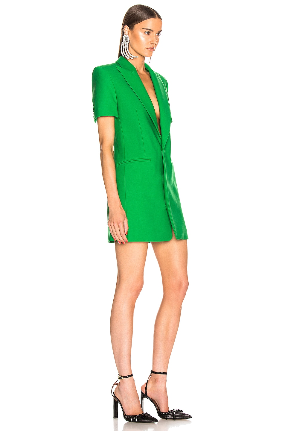 Image 3 of AREA Bonded Short Sleeve Blazer Dress in Kelly Green