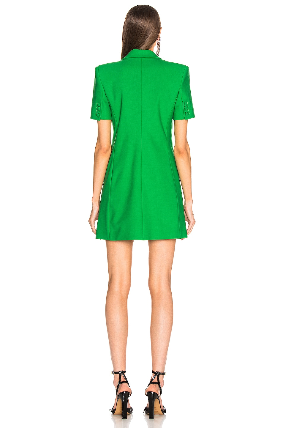 Image 4 of AREA Bonded Short Sleeve Blazer Dress in Kelly Green