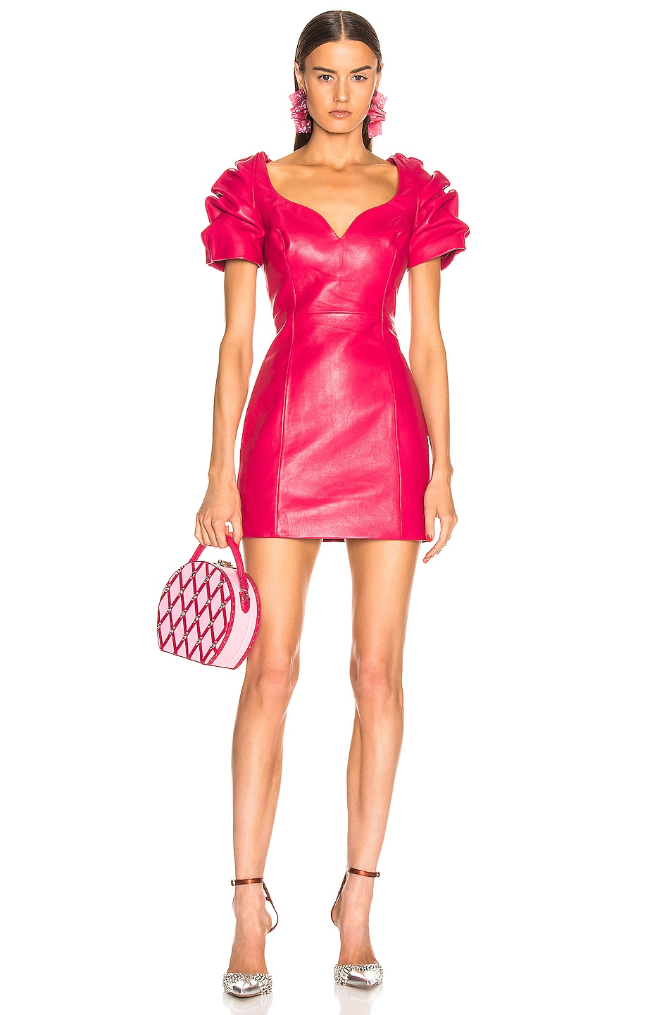 Image 1 of AREA Leather Balloon Dress in Ruby